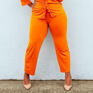 Carolyn Strauss Pants - Vintage 90s Tangerine Co-Ord